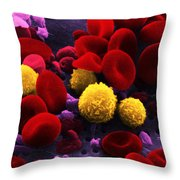 Circulating Human Blood, Sem Throw Pillow by Omikron
