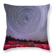 Circumpolar Star Trails Above The Table Throw Pillow