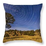 Circumpolar Star Trails Over Mimbres Throw Pillow