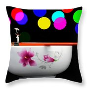 Circus Balance Game On Chopsticks Throw Pillow