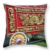 Circus Car In Red And Gold Throw Pillow