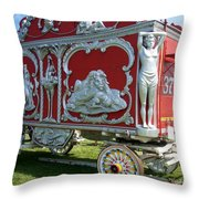 Circus Car In Red And Silver Throw Pillow