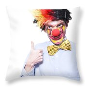 Circus Clown With Thumb Up To Carnival Advertising Throw Pillow by Jorgo Photography - Wall Art Gallery