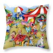 Circus In Town Throw Pillow