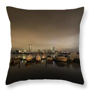 Citgo Sign Through The Boats On The Charles River Boston Ma Massachusetts Wide Angle Throw Pillow