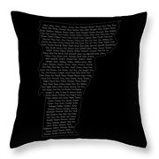 Cities And Towns In Vermont White Throw Pillow