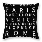 Cities Of Europe Throw Pillow