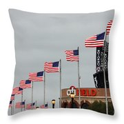 Citifield And American Flags Throw Pillow