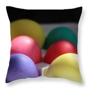 Citrus And Ultra Violet Easter Eggs Throw Pillow