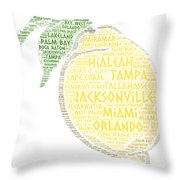 Citrus Fruit Illustrated With Cities Of Florida State Throw Pillow