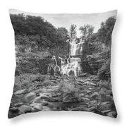 Cittenango Falls Tilt Shift Panorama Bw Throw Pillow