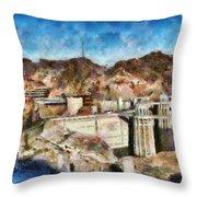 City - Nevada - Hoover Dam Throw Pillow