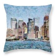 City - Ny - Manhattan Throw Pillow
