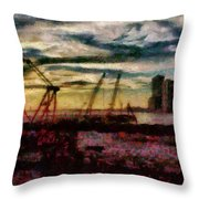 City - Ny - Overlooking The Hudson Throw Pillow