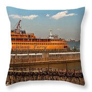 City - Ny - The Staten Island Ferry - Panorama Throw Pillow