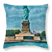 City - Ny - The Statue Of Liberty Throw Pillow