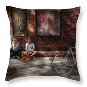 City - Ny - Two Guys And A Dog Throw Pillow