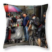 City - Ny Delancy St - Getting A Snowcone  Throw Pillow