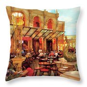 City - Vegas - Cesar's - Lunch In Italy Throw Pillow