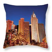 City - Vegas - Ny - The New York Hotel Throw Pillow
