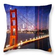 City Art Golden Gate Bridge Composing Throw Pillow by Melanie Viola