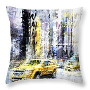 City-art Times Square Streetscene Throw Pillow
