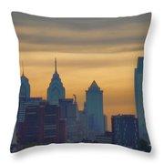 City At Dusk Throw Pillow by Thomas  MacPherson Jr