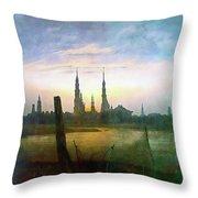 City At Moonrise Throw Pillow