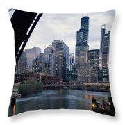 City At The Waterfront, Chicago River Throw Pillow