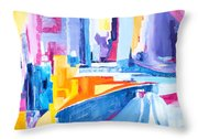 City At Waters Edge Throw Pillow