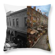 City - Baltimore Md - Traffic On Light Street - 1906 - Side By Side Throw Pillow