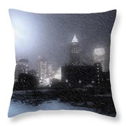 City Bathed In Winter Throw Pillow