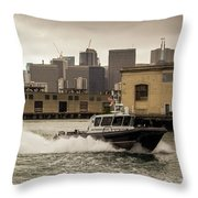 City Bay Police Boat - Color  Throw Pillow