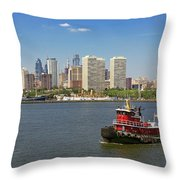 City - Camden Nj - The City Of Philadelphia Throw Pillow