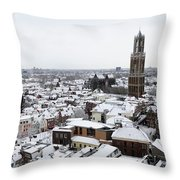 City Centre Of Utrecht With The Dom Tower In Winter Throw Pillow