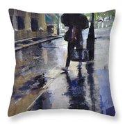 City Evening Rain Throw Pillow