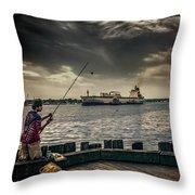 City Fishing Throw Pillow