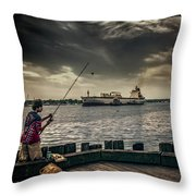 City Fishing Throw Pillow
