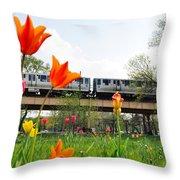 City Garden Chicago L Train Throw Pillow