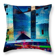 City Gas Station Throw Pillow