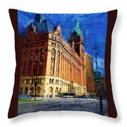City Hall And Lamp Post Throw Pillow