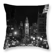 City Hall - Black And White At Night Throw Pillow
