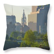 City Hall From The Schuylkill River Throw Pillow