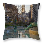 City Hall Reflecting In Swann Fountain Throw Pillow