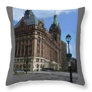 City Hall With Street Lamp Throw Pillow