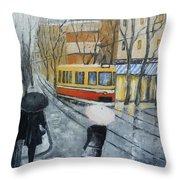 City In Rain Throw Pillow
