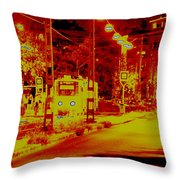 City In Red Throw Pillow