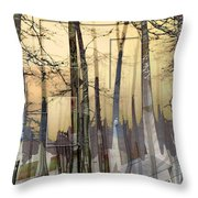 City In Trees Throw Pillow