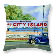 City Island Billboard Throw Pillow by Marguerite Chadwick-Juner