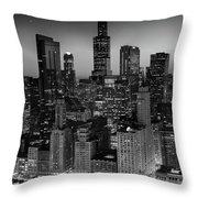 City Light Chicago B W Throw Pillow